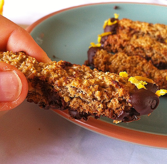 These Dark Chocolate Orange Biscotti Cookies are dipped in chocolate and are a delicious and gluten-free way to enjoy your favorite cookies!