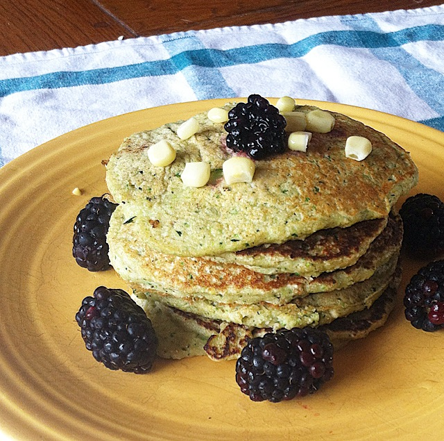 The Healthy Zucchini Cornbread Pancakes are a delicious combination of your two favorite quick breads!
