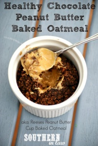Healthy Chocolate Peanut Butter Baked Oatmeal